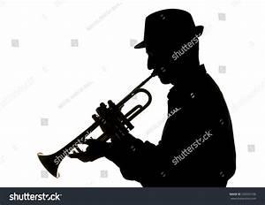 Jazzman Playing Trumpet Silhouette Stock Photo 220335106 ...