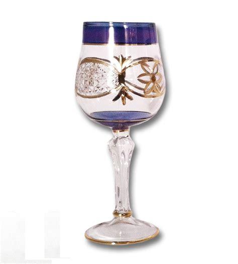 egyptian museum glass dg blu blue wine glass  gold