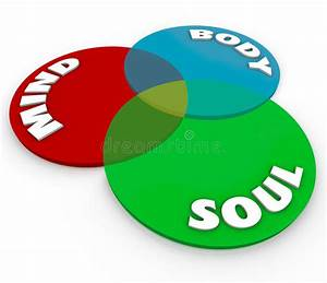 Mind Body Soul Venn Diagram Total Wellness Balance Stock