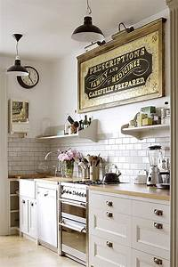 home decor ideas with typography my warehouse home With kitchen colors with white cabinets with vintage art deco wall clock