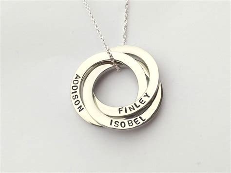 personalised russian wedding ring personalised interlocking circles necklace russian
