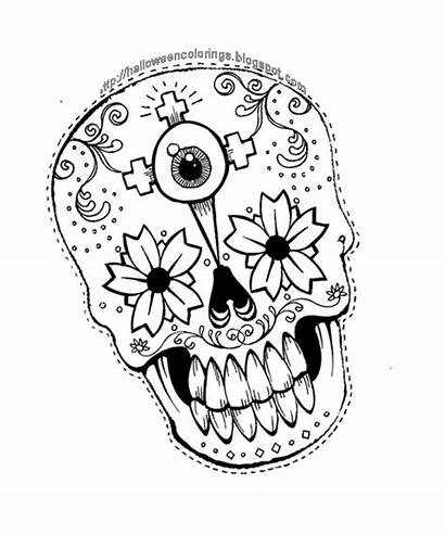 Coloring Pages Skull Halloween Sugar Dead Sheets