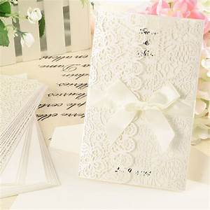 10x white ribbons and lace laser cut wedding invitations With wedding invitations with ribbons and lace