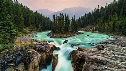 Canada Jasper National Waterfall Park Ultra Wallpapers