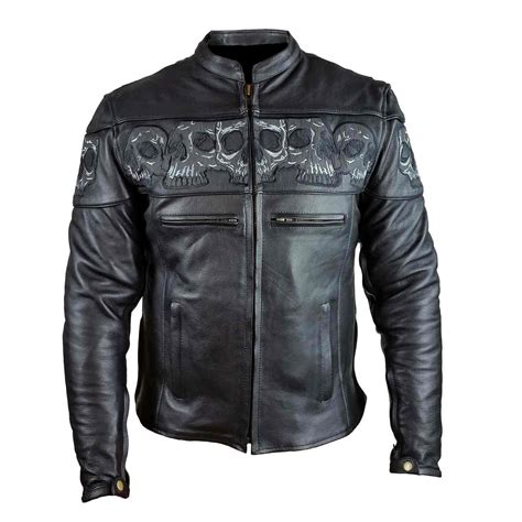 bike leathers men 39 s reflective skull motorcycle leather crossover
