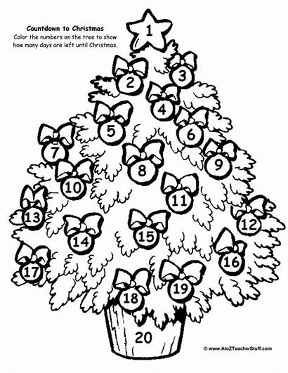 Countdown Christmas Coloring Tree Printable Pages Worksheet