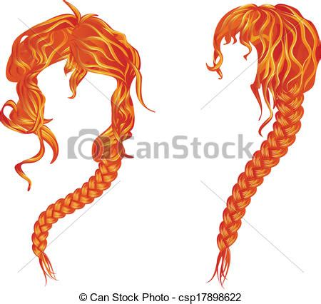vector illustration  braided wavy red hair beautiful