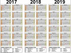 201720182019 calendar 4 threeyear printable PDF calendars