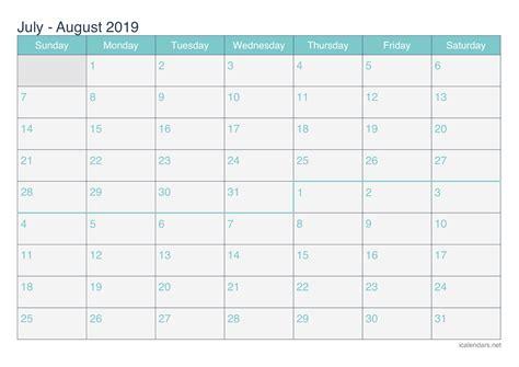 july  august  printable calendar icalendarsnet