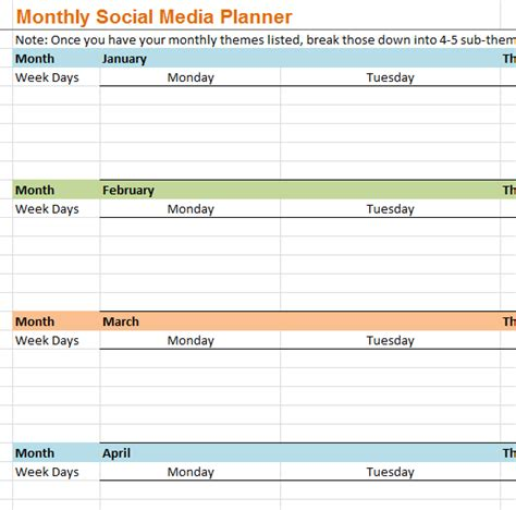 monthly social media planner  excel templates