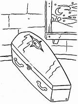 Coloring Casket Coffin Template Sheets Halloween sketch template