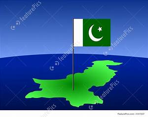 Pakistani Flag On Map Stock Illustration I1417037 At