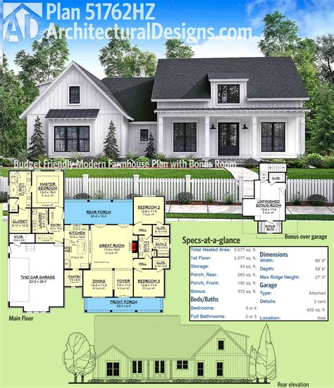 floor plans modern farmhouse plan 51762hz budget friendly modern farmhouse plan with bonus room garage design farmhouse