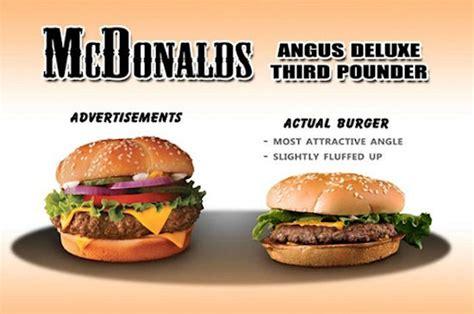 mc cuisine reclamefoto s burgers vergeleken met werkelijkheid