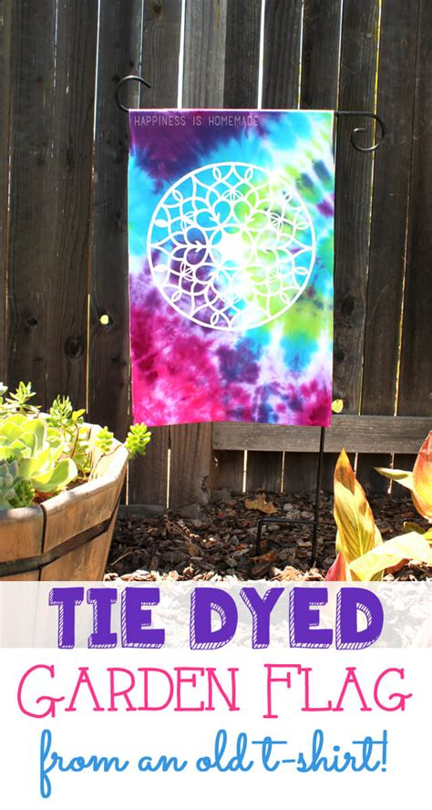 tie dye  upcycled  shirt garden flag happiness