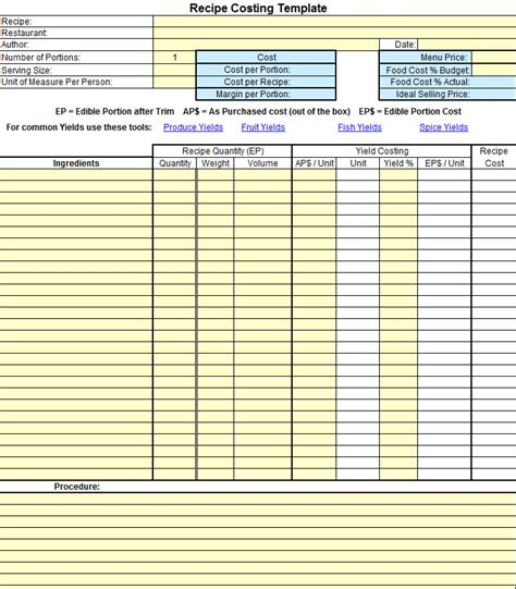cost template plate cost how to calculate recipe cost chefs resources