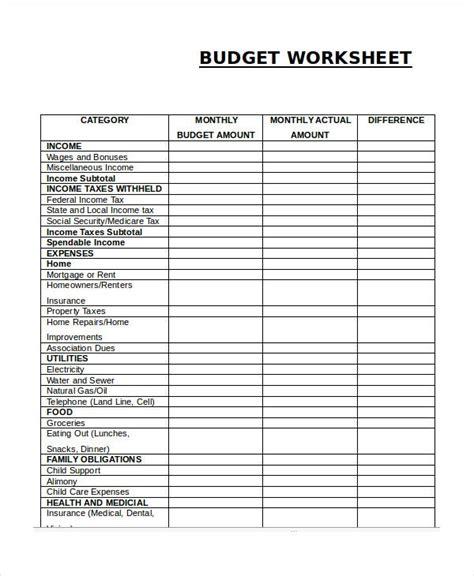 printable budget worksheet templates word