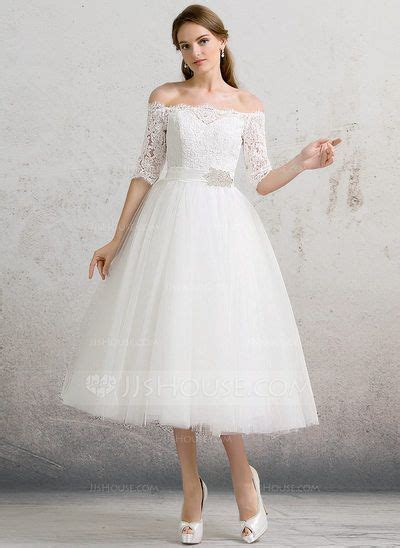 [US$ 178.00] Ball-Gown Off-the-Shoulder Tea-Length Tulle ...