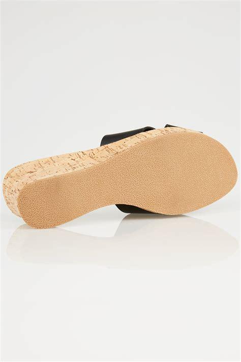 Black Crossover Cork Wedge Sandals Eee Fit