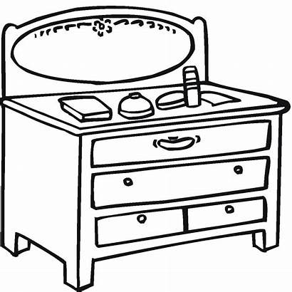 Coloring Table Pages Mirror Furniture Clipart Library