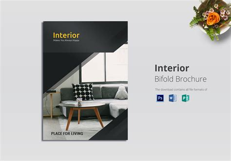 Folding Brochure Template Bi Fold Interior Brochure Design Template In Psd Word