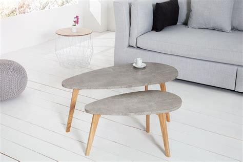 2er set couchtisch design couchtisch scandinavia cement 2er set eiche beton