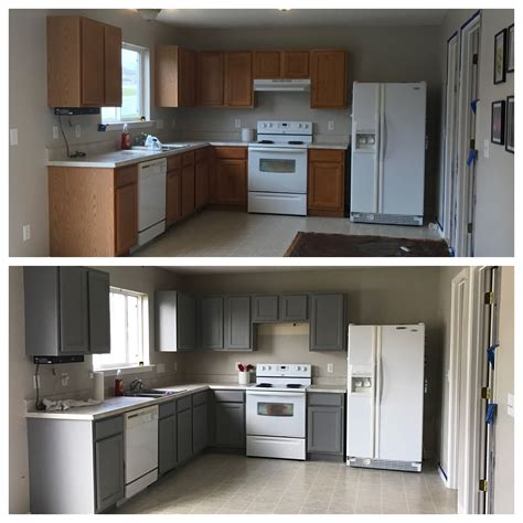 behr anonymous paint cabinets grey kitchen before and