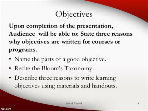 What Are Some Objectives To Use On A Resume by Writing Objectives Using Bloom S Taxonomy By Sohail Ahmed