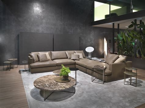 Divano Design Angolare In Pelle Con Mobile Loft, Loft