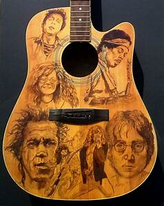 Custom painted acoustic #guitar featuring Hendrix, Lennon ...