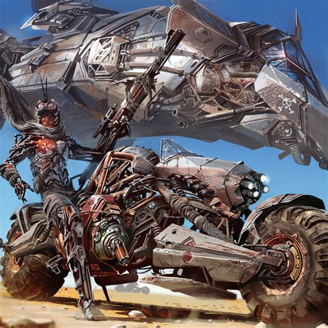 post apocalyptic cyberpunk motorcycle sci fi