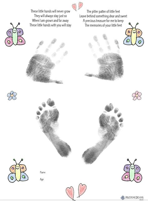 large butterfly  baby inkless hand footprint kit