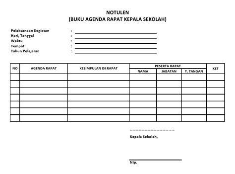 notulen buku agenda rapat sekolah sekolah dasar negeri