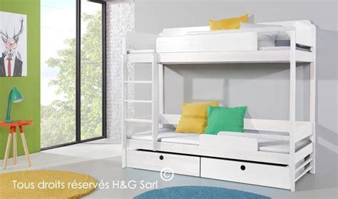 jeux de rangement de chambre de fille lit superpos 2 places en bois blanc massif 90 x 200 cm