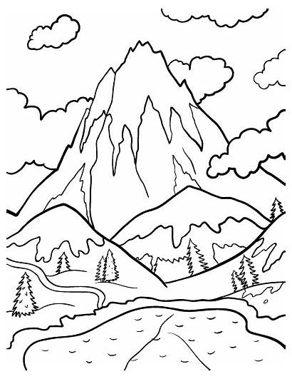 Coloring Mountain Mountains Pages Drawing Printable Coloringcafe