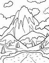 Coloring Mountain Mountains Pages Drawing Printable Coloringcafe Patterns Wood Snowy Snow Pdf Burning Stream Colouring Berge Sheets Sheet Sketch Printables sketch template