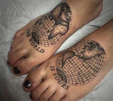 incredible map tattoos  foot