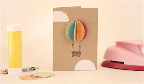 diy grusskarte basteln heissluftballon papierdrachen