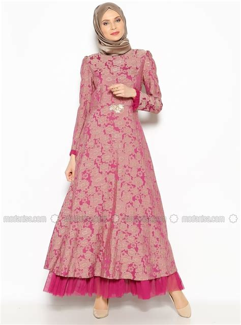 patterned evening dress fuchsia burun muslimah