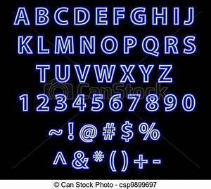 Stock Illustrations of Neon blue font text alphabet blue