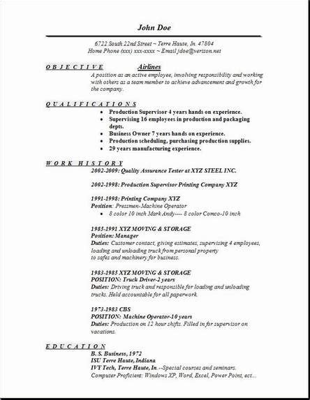 Resume For Airline by Airlines Resume Occupational Exles Sles Free Edit