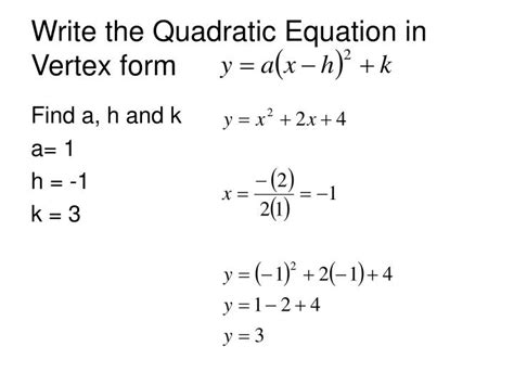write the function in vertex form writing quadratic equations in vertex form from standard