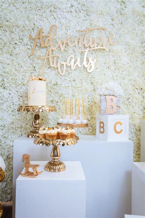 Kara's Party Ideas White And Gold Baby Shower  Kara's