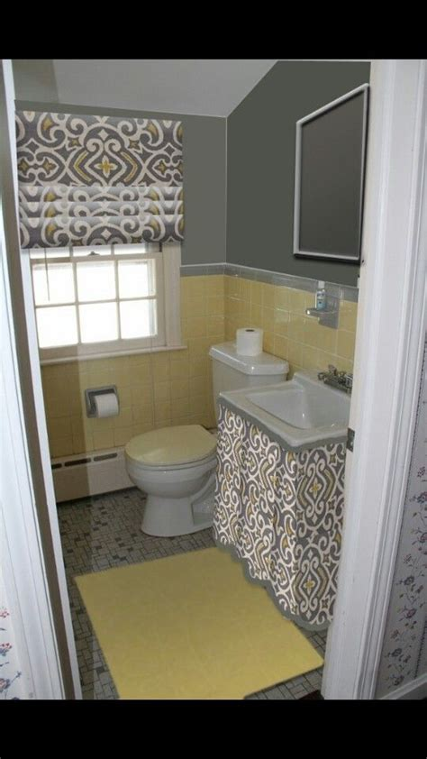 ideas  grey yellow bathrooms  pinterest