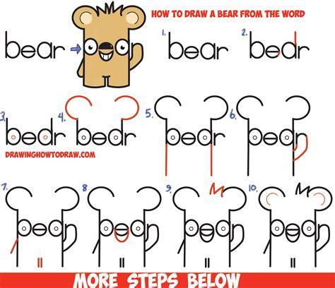 How To Draw Cute Cartoon Kawaii Bear From The Word Bear