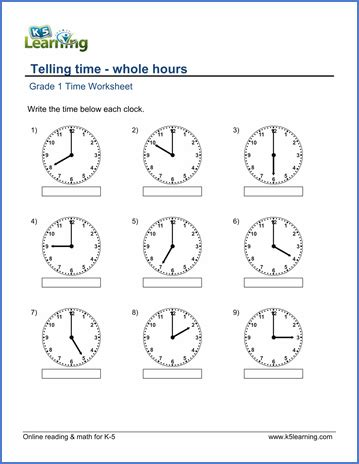 grade 1 telling time worksheet on whole hours maths