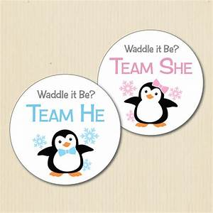 BABY PENGUIN Gender Reveal Party Stickers Winter Wonderland