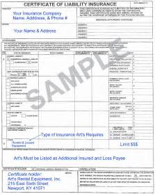Sample Certificate of Insurance Template