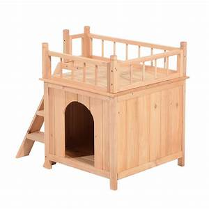 two story wood pet house outdoor kennel with stair aosomca With two story dog bed