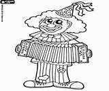 Accordion Playing Coloring Clown sketch template